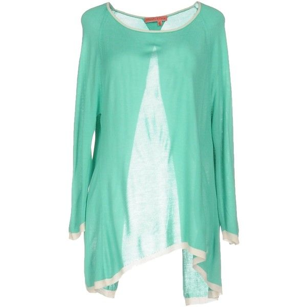 Manila Grace Denim Jumper ($83) ❤ liked on Polyvore featuring tops, sweaters, light green, green long sleeve top, rayon tops, viscose tops, long sleeve jumper and jumper top