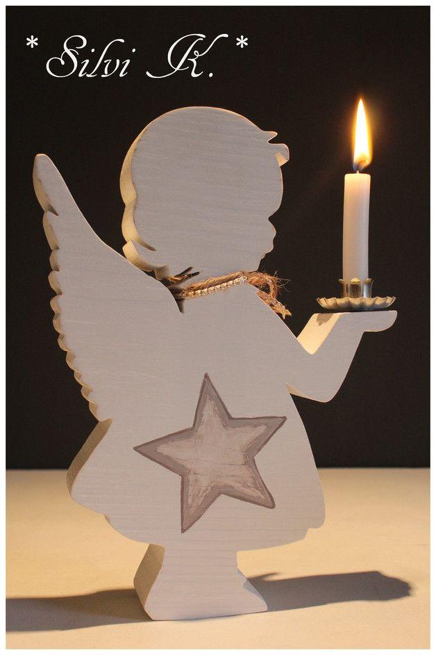 Weihnachtsdekoration aus Holz: Kleiner Engel als Kerzenständer / wooden christmas decoration: little angel for candles made by Silvi K. via DaWanda.com