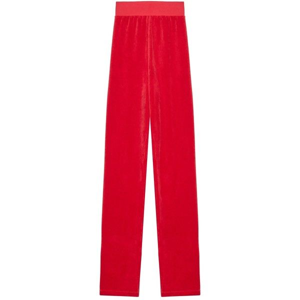 VETEMENTS x Juicy Couture Sweatpants (2996220 PYG) ❤ liked on Polyvore featuring activewear, activewear pants, red sweatpants, sweat pants, red sweat pants, velvet sweatpants and velvet sweat pants