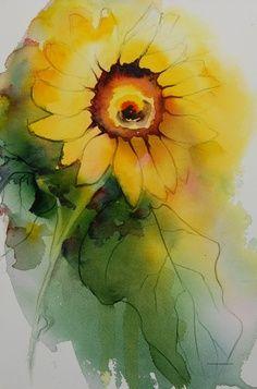 watercolor sunflower tattoo -my favorite flower