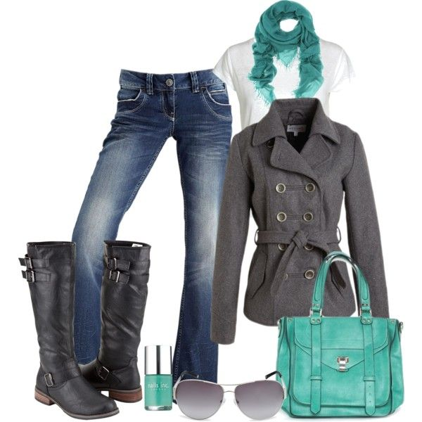 "#""Teal and Gray"" by pamnken on Polyvore clothing new fashion nice www.2dayslook.com"