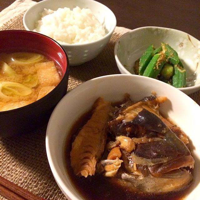 鯛のあらが100円だったので - 12件のもぐもぐ - 鯛のあら煮/おくらのごま和え/長ネギの味噌汁 by yukittttty