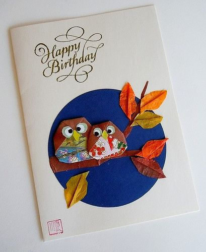 51 best origami card ideas images on pinterest christmas photos birthday card with owls bookmarktalkfo Gallery