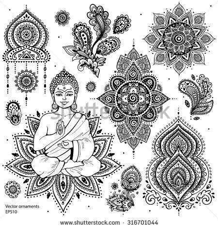 Set of ornamental Indian elements and symbols                                                                                                                                                      Más