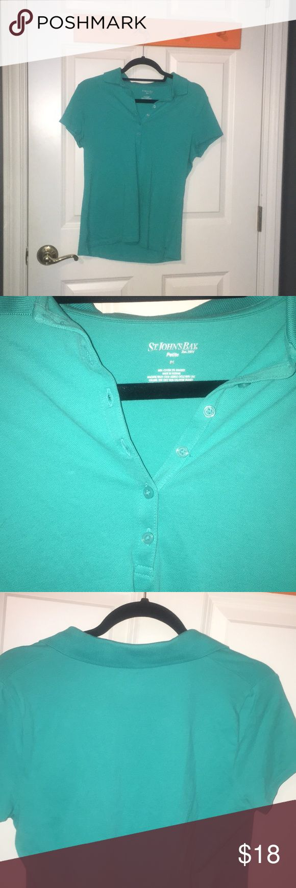Green polo shirt Green polo perfect for charter schools or work! Beautiful quality and not too heavy. Worn once when I shadowed a school. Size petite small St. John's Bay Tops Blouses