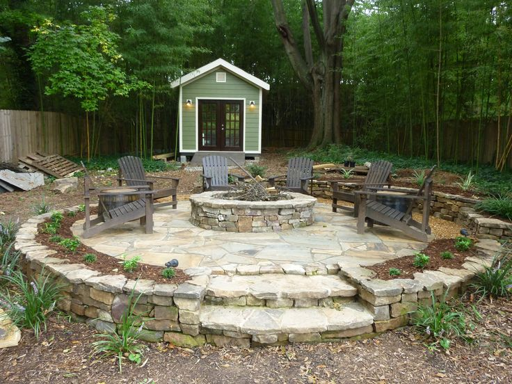 Fire Pit; Firepit; Shed; Stone Patio; Landscape Ideas