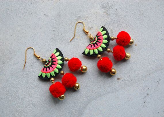 Hmong Embroidery Pom Pom Earrings by SiamHillTribes on Etsy