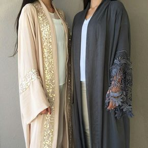 stunning linen abaya with sequins and lace  . #hijabblogger #qabeela #modestfashion #abaya #hijabfashion