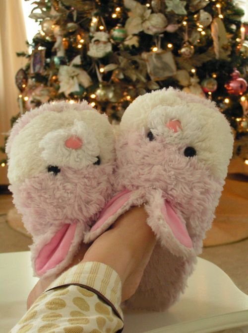 Bunny slippers!♥  Yep... only mine are   Shih Tzu puppy slippers.....