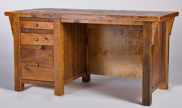 Reclaimed Wood Rustic Home Office: Reclaimed Wooden Desk, Barn Wood Desk, Rustic Furniture