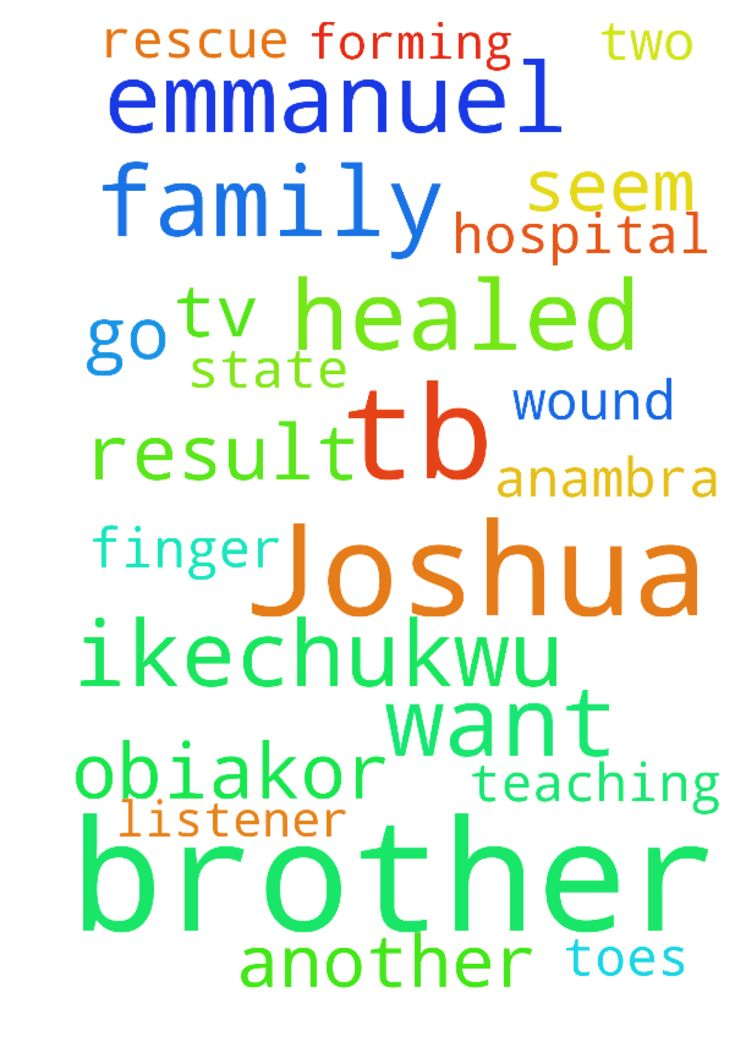 My prayer is for the God of tb Joshua - My prayer is for the God of tb Joshua come to my family rescue, and especially my brother ikechukwu OBIAKOR whom is in the teaching hospital Nnewi Anambra state as a result of diabetic foot, he has lost two of his finger toes and the wound seem to be forming another thing. God I dont want my brother to go through a further amputation. he is a regular listener of Emmanuel TV I believe a ward from the man of God my brother will be healed in Jesus Christ…