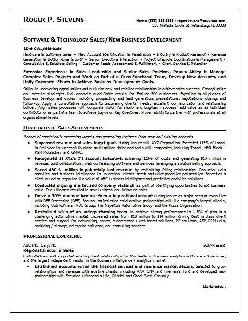 Software Sales Resume Example Resume Examples Office Pinterest