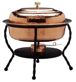 16.5 x 12.5 x 18 Oval Decor Copper Chafing Dish 6 Qt. by Old Dutch. $251.92. Model 892. Product by :Old Dutch. PROD ID 145573. 6 Qt. Oval Decor Copper Chafing Dish. 6 Qt. Stainless Steel food pan is oven safe to 350F, water-bath design keeps food at the perfect serving temperature without drying out. Chafing dish features brass knob and accented rim. Includes sturdy iron stand. Adjustable fuel holder takes standard gel fuel canisters (not included).