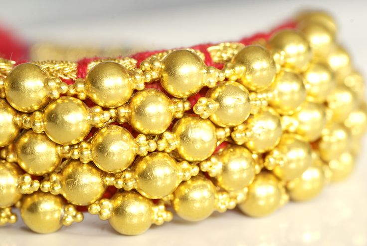Famously called Nogris, this pair gold bracelets resemble buds of jasmine flowers or ghungroos (Indian dancers' anklets). **sannu's favorites!  Made with 69.98 gms of 23K gold.Handmade in Bikaner. SKU 0045. www.sannu.in �