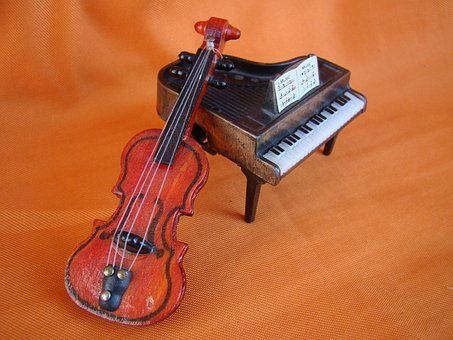 Piano, Violon, Orange, Musique