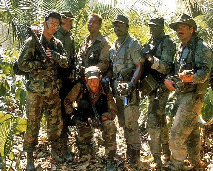 Full cast photo during production of #Predator (1987)