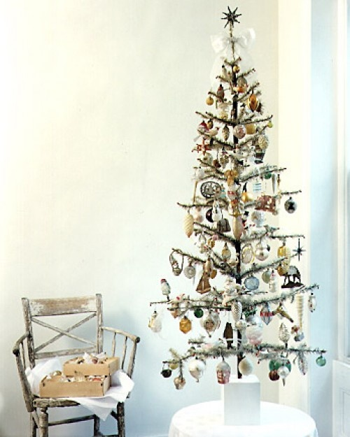 Vintage ornaments and feather tree. Want to do this with my collection of Shiny Bright ornaments!