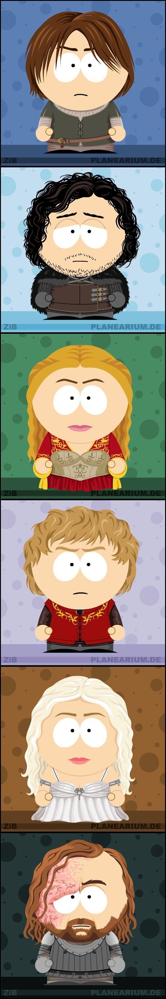 Arya Stark, Jon Snow, Cersei Lannister, Tyrion Lannister, Daenerys Targaryen and Sandor Clegane, aka The Hound, as South Park characters