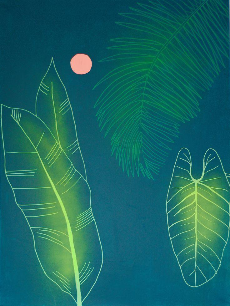 """Tropical I"" Kaja Weum Acrylic and spray on canvas 120cm * 90cm"