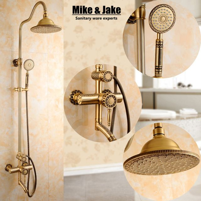 New Arrival luxury Retro Bathroom Wall Mounted Carving Hand Held Antique Brass Shower Head shower Kit Shower Faucet Set SRH9988 -- Check out this great article. #BathroomProducts