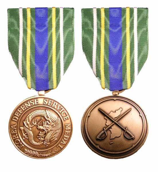 The Korea Defense Service Medal is a military award of the U. S. Armed Forces first created in 2002 when it was signed into law by President George W. Bush.  The medal is authorized for those members of the United States Armed Forces who have served duty in South Korea after the signing of the Korean Armistice Agreement in support of the defense of the Republic of Korea. To qualify for the KDSM, a service member must have served at least thirty consecutive days in the Korean theater.