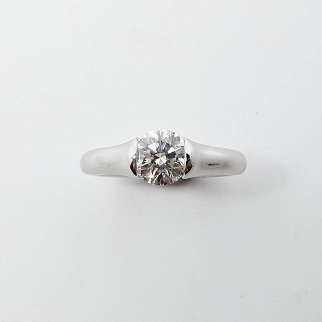 Platinum and diamond ring. Tension set from each side.   #platinum #handmade #custom #tension #tensionsetting #bespoke