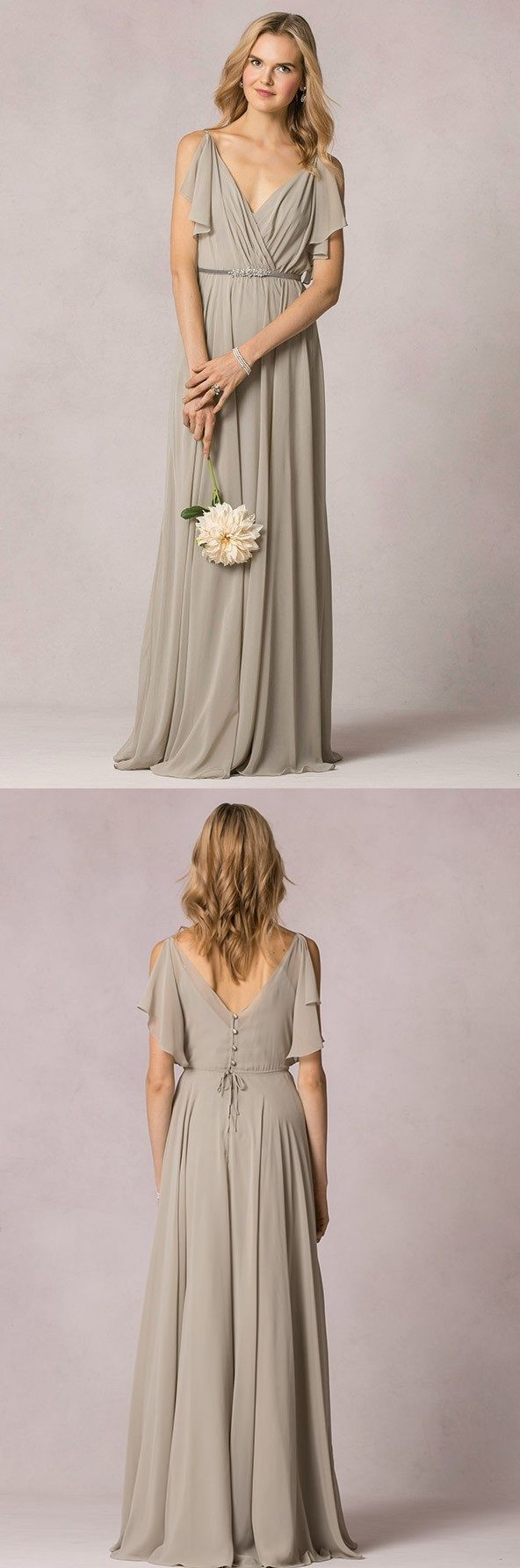 Casual V Neck Pleated A-line Long Chiffon Bridesmaid Dress with Sash