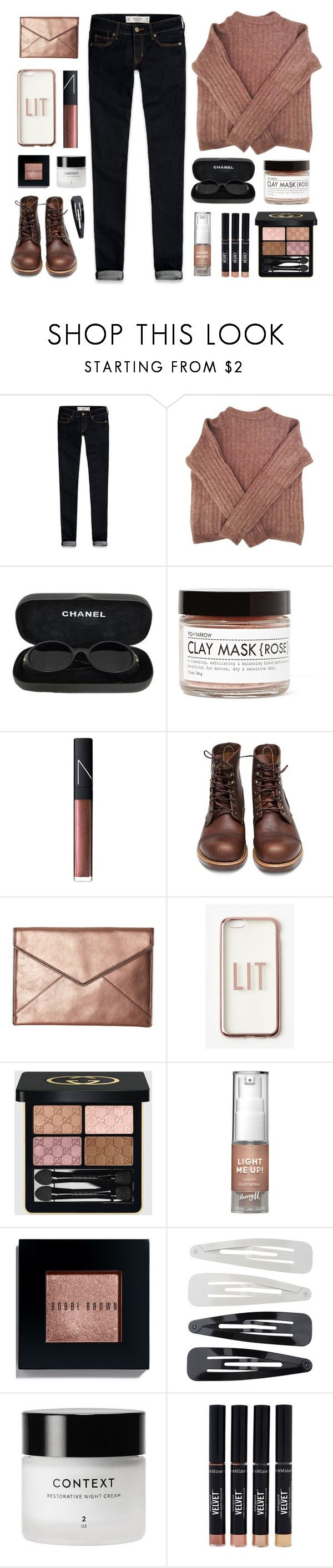 """""""Blush Sweater"""" by amazing-abby ❤ liked on Polyvore featuring Abercrombie & Fitch, Acne Studios, Chanel, Fig+Yarrow, NARS Cosmetics, Red Wing, Rebecca Minkoff, Missguided, Gucci and Barry M"""