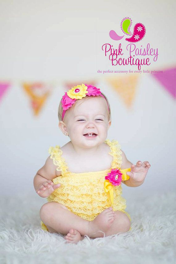 Baby Girl 1st Birthday Outfit - Cake Smash Outfit- Ruffle Rompers - Baby Romper - You are my Sunshine Birthday Outfit - Yellow Petti Rompersby Pinkpaisleybowtique