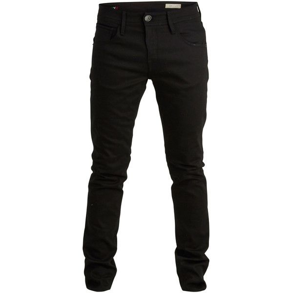 Selected Cotton-Stretch Skinny Fit Jeans ($32) ❤ liked on Polyvore featuring mens, men's clothing, men's jeans, pants, men, bottoms, jeans and black