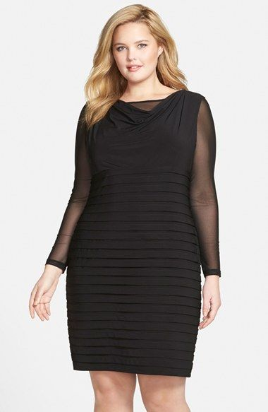 Adrianna Papell Mesh Underlay Shutter Pleat Sheath Dress