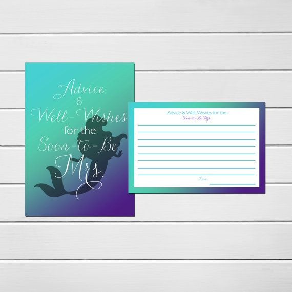 Mermaid Bridal Shower Advice Cards, Mermaid Bridal Shower, Advice and Well Wishes for the Soon to be Mrs, #100