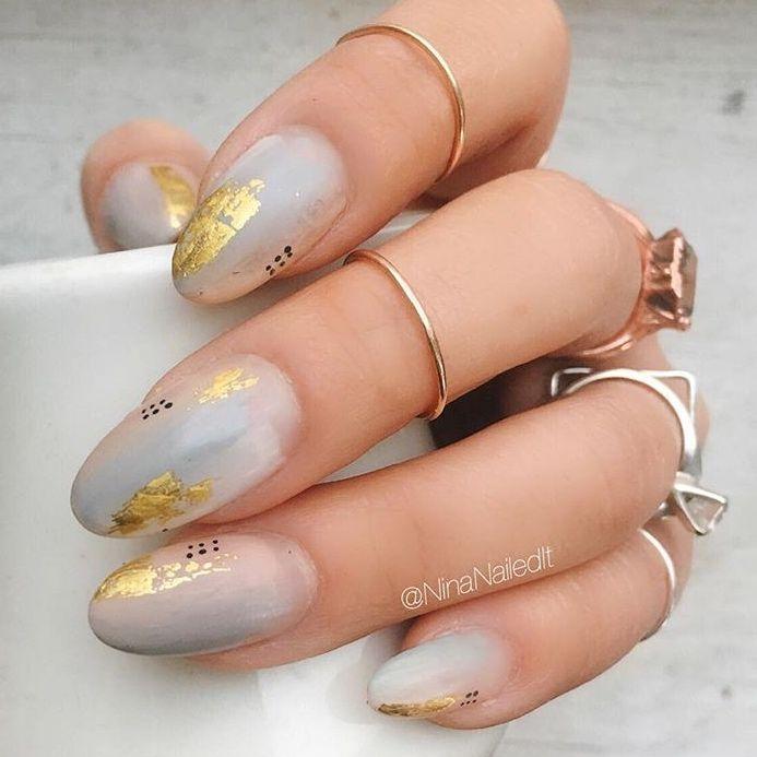 Ombré, gold flecks and black dots @ninanailedit