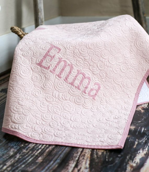 Pink Baby Quilt for Girl, Custom Baby Heirloom, Homemade Baby Blanket, Personalized Baby Gift, Baby Girl Bedding