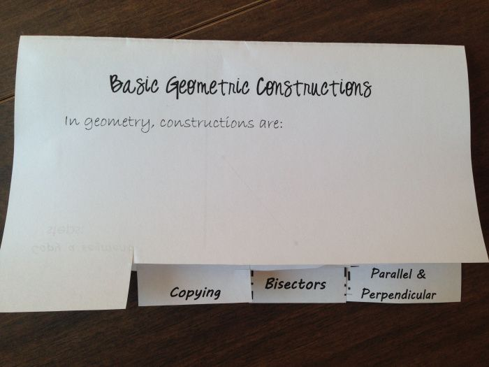 crazy math teacher lady -  constructions. complete this foldable for their interactive note books with time for practice.  Each tab has space for both the steps and an example for segments and angles, except of course the last tab which contains constructing a line parallel to another line through a point and constructing a perpendicular line. students complete these notes in pairs using this website for directions: http://www.mathopenref.com/tocs/constructionstoc.html