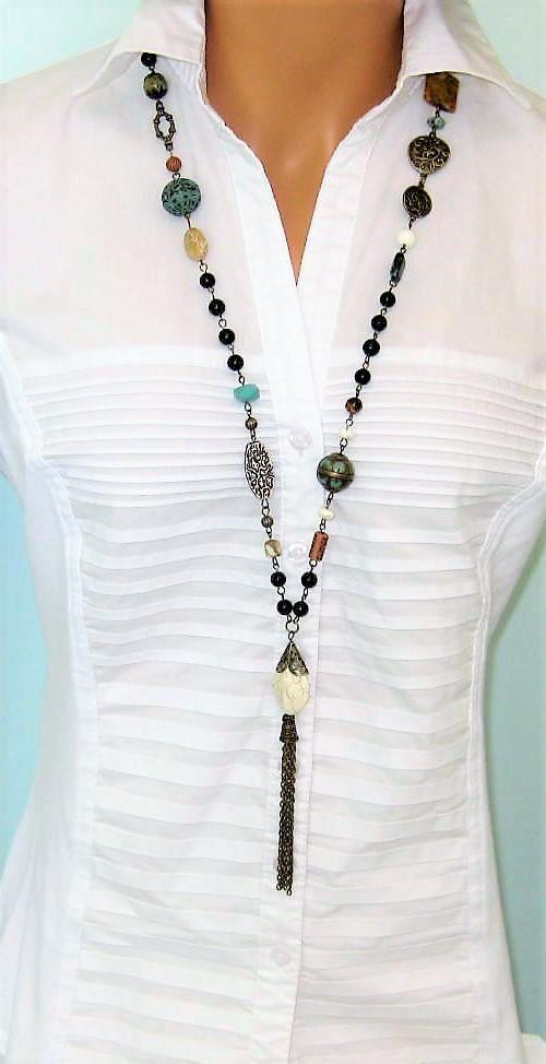 Borlas con cuentas de collares collares largos con cuentas