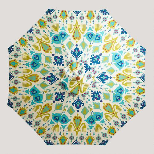 Back Patio —One of my favorite discoveries at WorldMarket.com: 9' Blue Aberdeen Umbrella Canopy