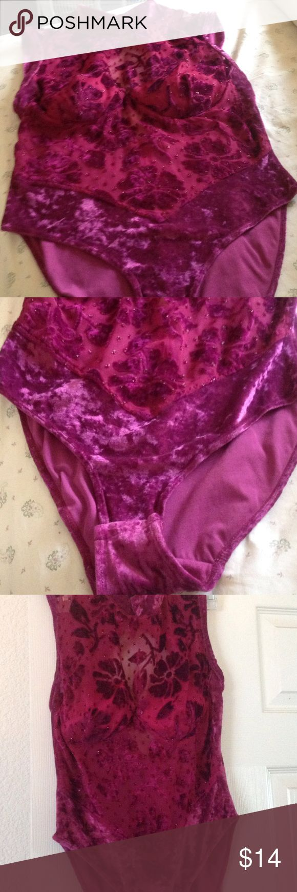 Purple body suit Sheer purple velour flowered body suit sexy cute. Victoria's Secret Intimates & Sleepwear Shapewear
