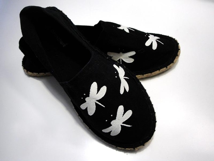 Hand painted dragonflies on black canvas shoes by beh1ndbymk