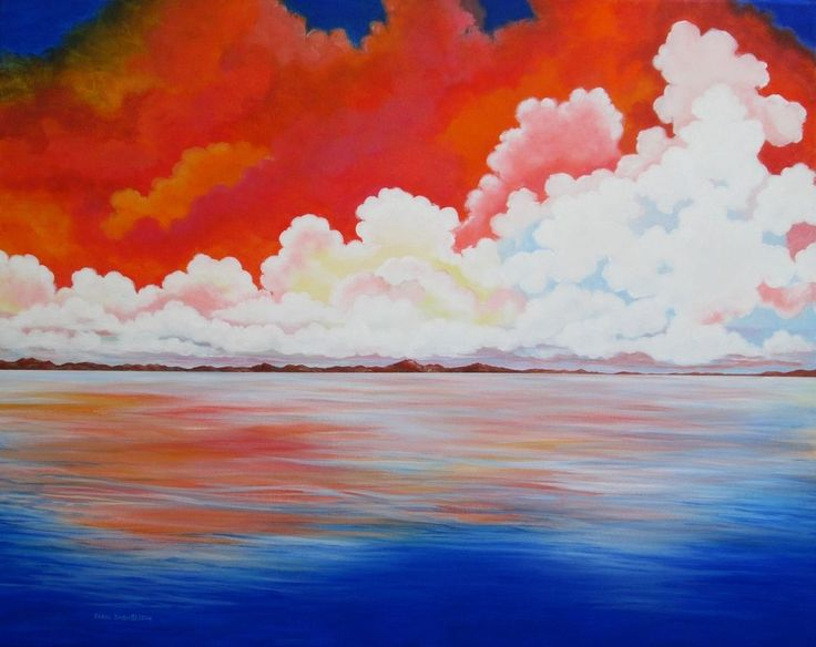 Clouds-Original painting by the artist, 24x30 #Sky #Reflection#24x30 #Realism