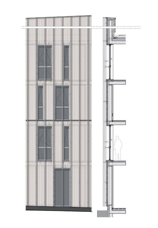 FACADE DETAIL SECTION + ELEVATION…….(should have facade detail plan underneath elevation to satisfy our requirement!) top : BARKOW LEIBINGER: Stadthaus M1 - Green City Hotel http://www.bdonline.co.uk/stadthaus-m1-housing-and-green-city-hotel-by-barkow-leibinger/5065756.article http://www.barkowleibinger.com/archive/view/stadthaus_m1_green_city_hotel_freiburg_vauban bottom : FOA: Housing Carabanchel posted by ik