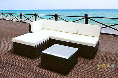 Rattan Modular Corner Sofa Set Garden Conservatory Furniture Black Brown Light