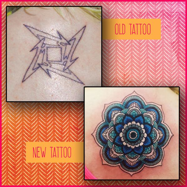 Mandala pattern cover-up tattoo before and after. Colour back tattoo idea for women.