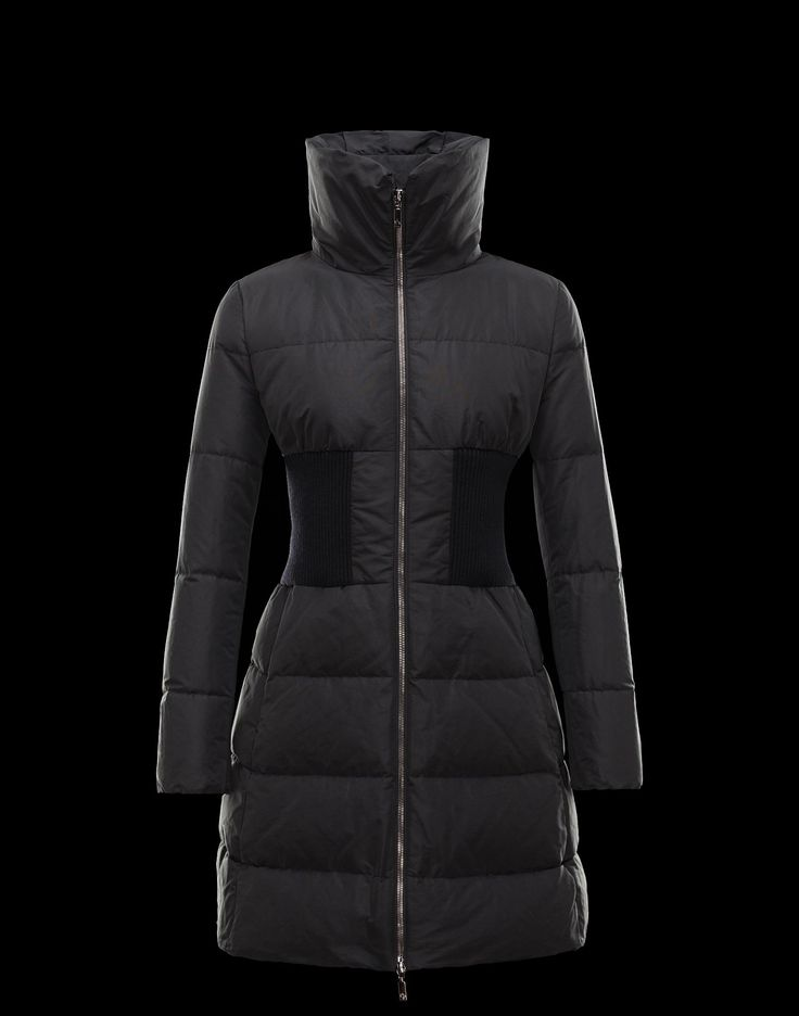 MONCLER | GRUISAN: Coat with pure wool ribbing at the waist. Silky-looking fabric. Water-repellent treatment. Logo detail / Techno fabric / Turtleneck / Multipockets / Zip / Goose down interior Composition: 100% Polyester. $1,250