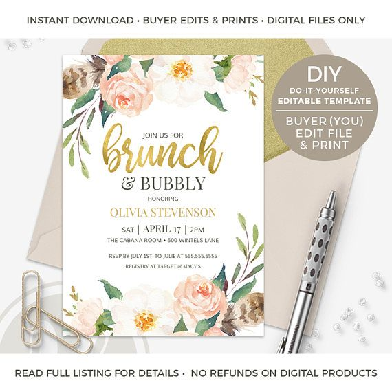 DIGITAL FILE(S) ONLY | NO REFUNDS | READ FULL LISTING  This Brunch & Bubbly Bridal Shower Invitation is an instant download DIY EDITABLE TEMPLATE, which means that ► YOU (the buyer) ◄ will make ALL edits (IN ADOBE READER) and print.  DIY PROCESS SUMMARY: Purchase template, download template from your Etsy purchases tab, install Adobe Reader, edit template in specified program, save edited files and then print (from home, online printer or local copy shop).  -------------------------------...