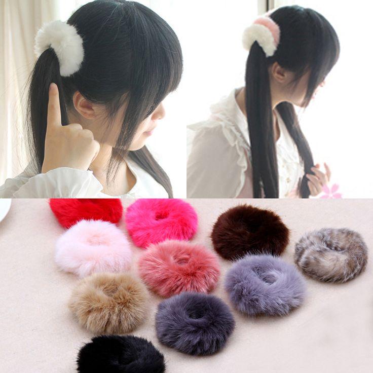 NEUE 2016 Koreanische Nette Trendy Warme Weiche Gefälschte Kaninchenfell frau Elastische Haarseil Bands Mädchen Haar-accessoires Gummiband Headwear