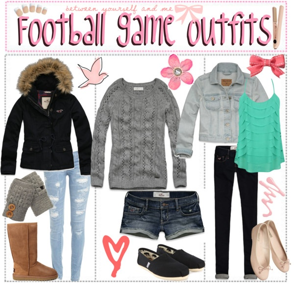 """""""Football Game Outfit"""" not too sure about these for games... But still cute outfits :)"""
