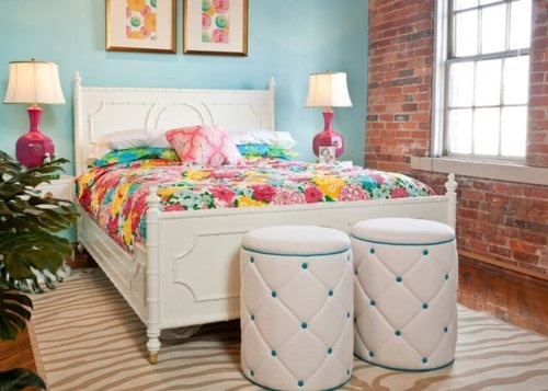 Lily Pulitzer home collection, i love how all the colors look with the brick wall