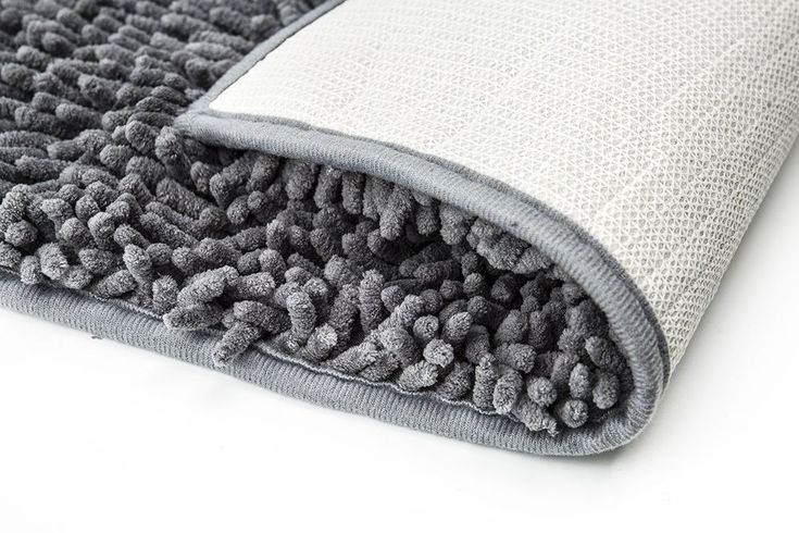 """20""""X32"""" Polyester Shaggy Non Slip Absorbent Bathroom Mat Machine Washable Grey #FindNew"""