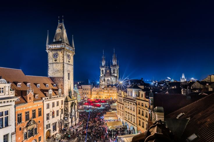 Christmas market in Prague - Rooftop view of Christmas market on Old town square in Prague.